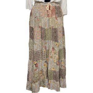 ICLA - Boho Hippie Floral Patchwork Maxi Skirt